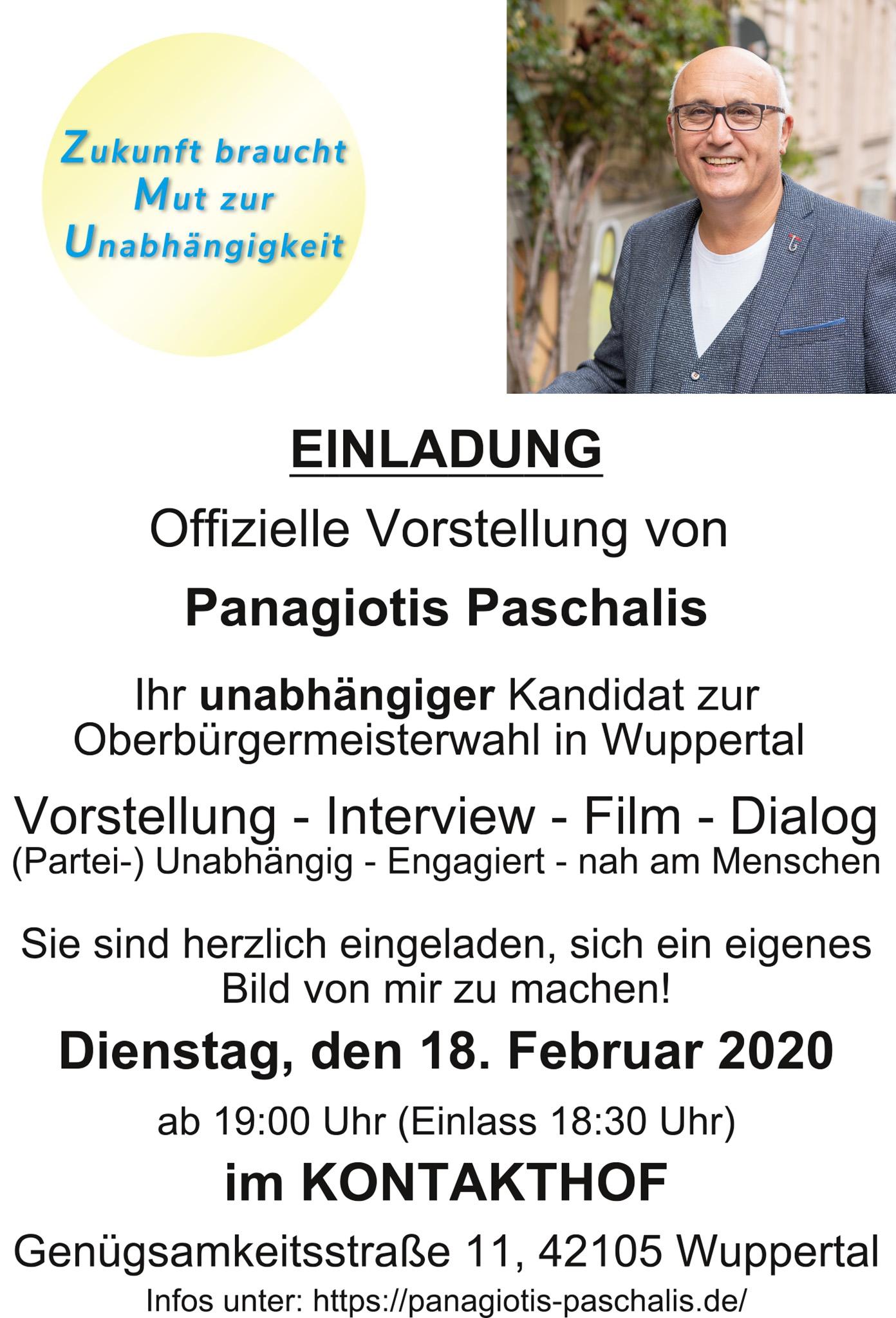 Einladung zur offiziellen Vorstellung von Panagiotis Paschalis