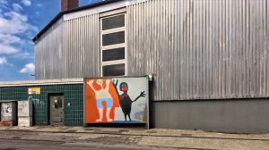 Das BIld visualisiert die Projektidee von out and about –Kunst geht raus.