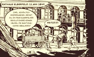 Comicpanel, Engels kommt 1849 in Elberfeld an