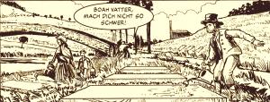 Schwarz-weiß-Zeichnung: Bleicher und Bleicherinnen auf den Wupperwiesen 1849
