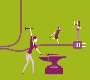 Grafik: Frau im Handwerk