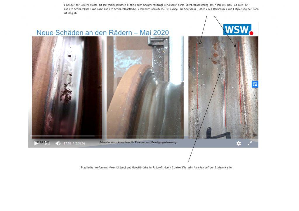 Schadensbilder von den Rädern der Schwebahn GTW14