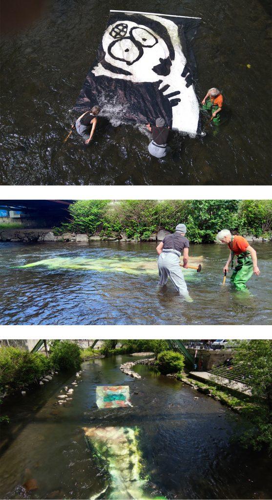 OAA2 Kunst in der Wupper – am TAg der INstallation im Fluss
