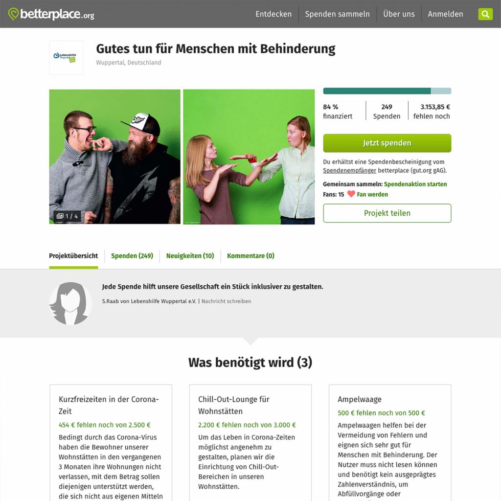 Die Lebenshilfe Wuppertal stellt ihre Spenden-Projekte vor.