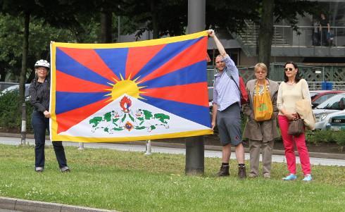 Demonstration gegen die Besetzung Tibets durch China.